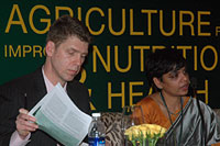 Photo of speakers at side session on strengthening ag-health-nutrition linkages in India